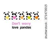 pandas with heart   the idea... | Shutterstock .eps vector #371473015