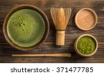 Stock photo top view of green tea matcha in a bowl on wooden surface 371477785