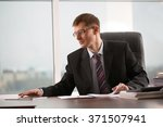 businessman at office working... | Shutterstock . vector #371507941