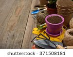 garden tools on a wooden... | Shutterstock . vector #371508181