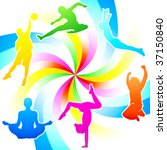 rainbow colored fitness... | Shutterstock .eps vector #37150840