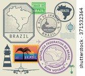 travel stamps set  brazil ... | Shutterstock .eps vector #371532364