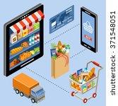 isometric internet store | Shutterstock .eps vector #371548051