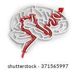 Stock photo brain like maze with red arrow 371565997