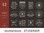 set of wooden casks with... | Shutterstock .eps vector #371569609