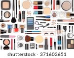 makeup cosmetics  brushes and... | Shutterstock . vector #371602651