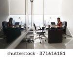 adult businesswoman sitting in... | Shutterstock . vector #371616181