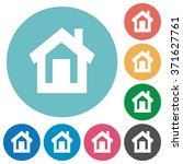 flat home icon set on round... | Shutterstock .eps vector #371627761