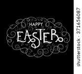 happy easter hand lettering... | Shutterstock .eps vector #371656087
