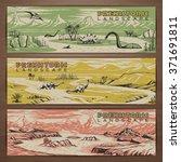 prehistoric theme vector banner ... | Shutterstock .eps vector #371691811