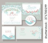 set of wedding cards with rose... | Shutterstock .eps vector #371700199