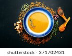 soup of mashed red lentils.... | Shutterstock . vector #371702431