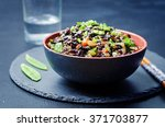 black rice with snap peas and...   Shutterstock . vector #371703877