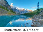 moraine lake in banff national... | Shutterstock . vector #371716579