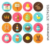 happy easter holiday icon set... | Shutterstock .eps vector #371741431