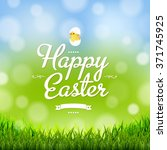 easter card with grass border... | Shutterstock .eps vector #371745925