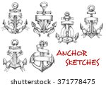 old heraldic anchors with wavy... | Shutterstock .eps vector #371778475
