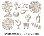 fast food  menu sketches of... | Shutterstock .eps vector #371778481