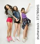 Young Girls Friends Dancing Of...