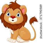 cute baby lion cartoon sitting | Shutterstock .eps vector #371790589