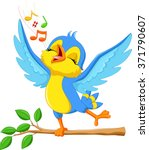 Stock vector vector illustration of cute bird singing 371790607