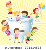 boys and girls with clean tooth ... | Shutterstock .eps vector #371814535