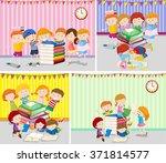 happy children reading books...   Shutterstock .eps vector #371814577
