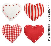 Set Of Red Striped  Checkered...