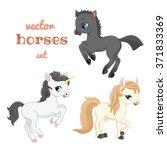 set of horses in action.   Shutterstock .eps vector #371833369