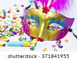 carnival mask and matasuegras... | Shutterstock . vector #371841955