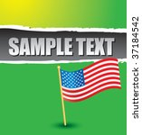 american flag on green ripped... | Shutterstock .eps vector #37184542
