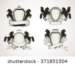 vector set of shields with old... | Shutterstock .eps vector #371851504