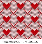 seamless knitting pattern with... | Shutterstock .eps vector #371885365