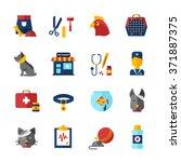pet vet decorative icons set... | Shutterstock .eps vector #371887375