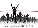 Editable vector illustration of a woman winning a race - stock vector