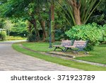 bench in beautiful city park in ... | Shutterstock . vector #371923789