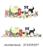 Stock vector set of pets a row and a group 371929297