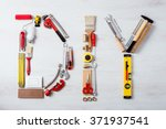 diy word composed of work and... | Shutterstock . vector #371937541