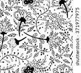 seamless black and white floral ... | Shutterstock .eps vector #371977975