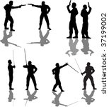 duelist silhouettes | Shutterstock .eps vector #37199002