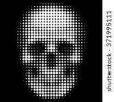 human skull in halftone dots... | Shutterstock .eps vector #371995111