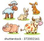 cartoon set of farm animals  ...