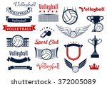 volleyball sports game design... | Shutterstock .eps vector #372005089