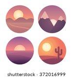 set of flat cartoon sunset...