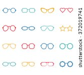set of color glasses and... | Shutterstock .eps vector #372019741