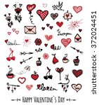 valentines and love set of hand ... | Shutterstock .eps vector #372024451