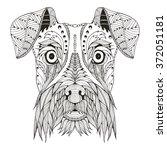 schnauzer dog head zentangle... | Shutterstock .eps vector #372051181