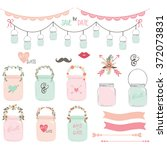 wedding mason jar collections...   Shutterstock .eps vector #372073831