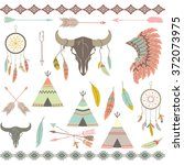 tribal decorative elements set.... | Shutterstock .eps vector #372073975