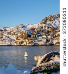 the battery on a cold winter... | Shutterstock . vector #372080311